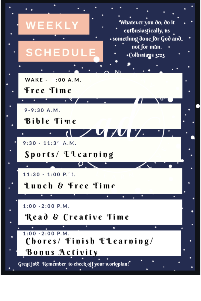 Hour by hour schedule